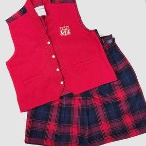 Nygard Vintage Plaid Wool Vest & Shorts Set